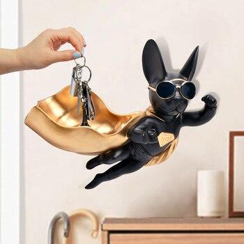 [TML] Superman Dog Wall Hanging Candy Box Wall Decoration Lucky Dog Creative Key Animal Storage Box Home Decoration statue model
