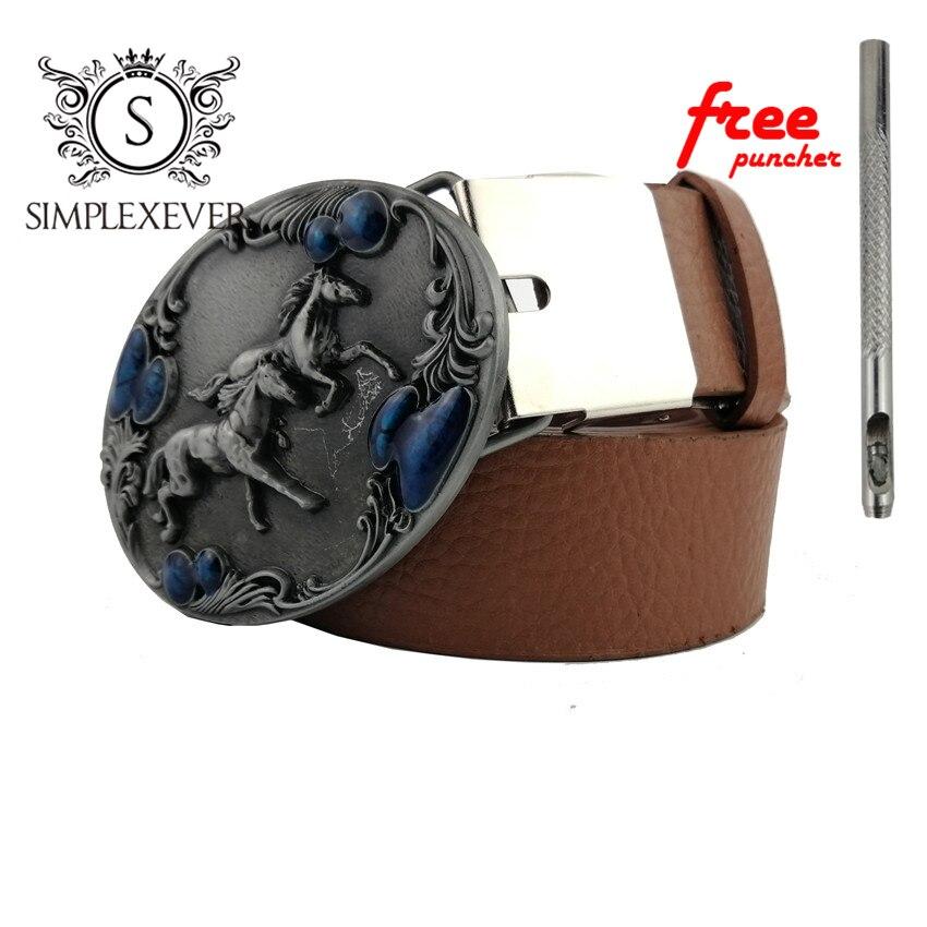Running Horse Cowboy Belt Buckle For Men, Silver Belt Buckles Withe Leather Belt Accessories For Men