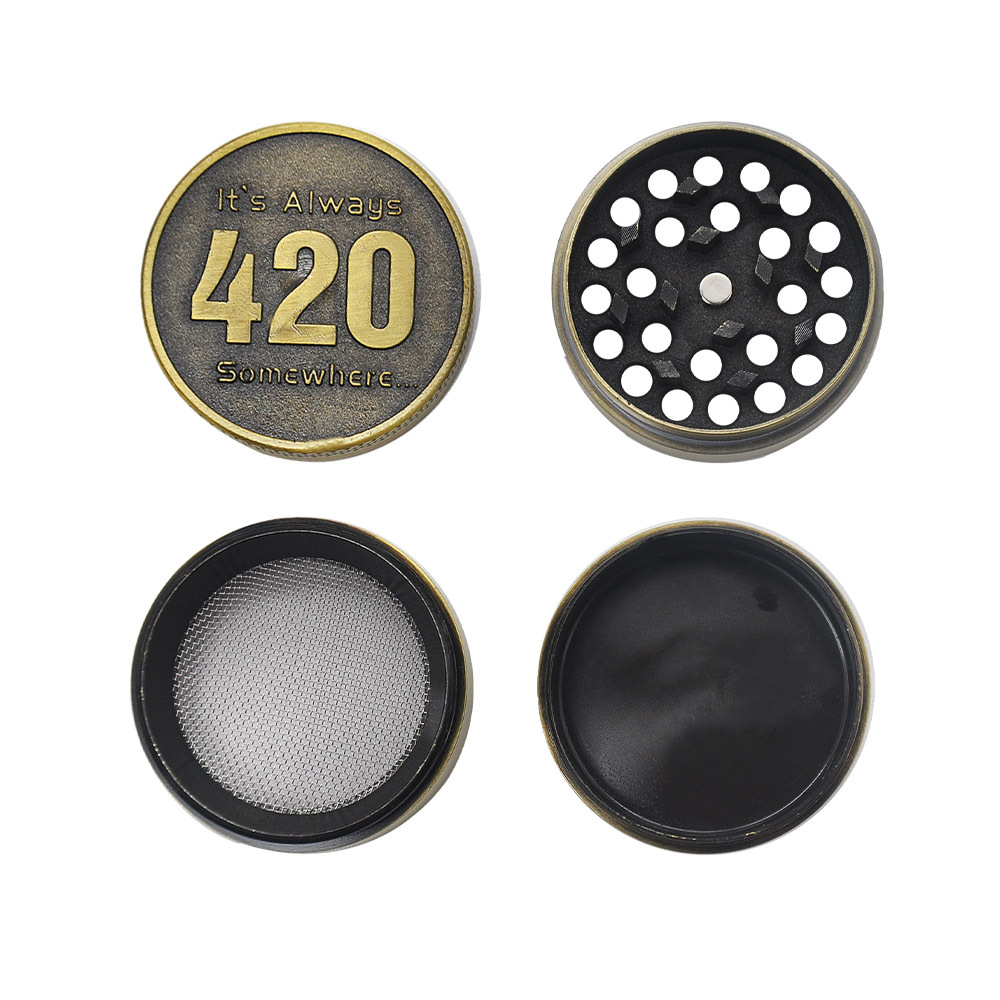 Bronze color Zinc Alloy Herb Grinder 40MM 4 layer Metal Mini Tobacco Grinders with Pollen Catcher Smoke Pipe Accessories 3