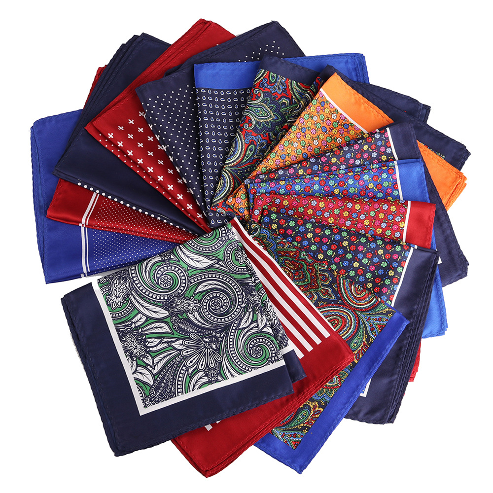 NEW Cartoon 32 X 32 CM Large Handkerchief Man Paisley Geometric Dot Pocket Square Men Paisley Casual Hankies For Men's Suit
