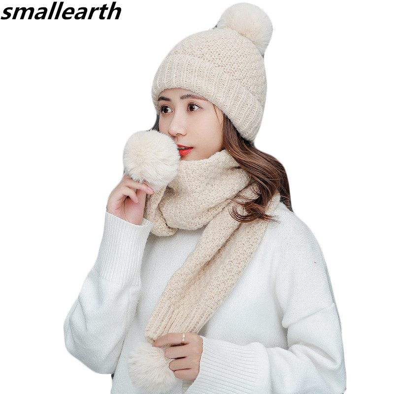 2019 New Winter Knitted Hat Scarf Set Women Thick Beanies Long Scarf Female Knitted Winter Plush Hats Set Accessories Girls Gift
