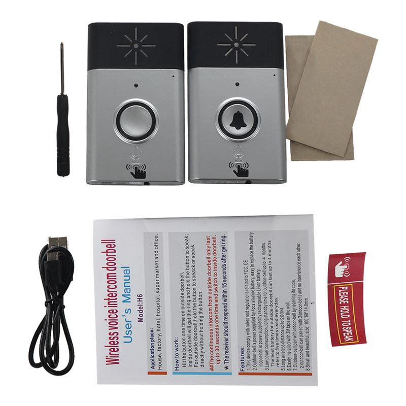 EASY-Wireless Doorbell With Speaker Voice Intercom 300M Distance