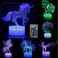 3D LED Night Light Unicorn Horse Lamp 16Colors Fairy Night light Remote Control Table Lamps Toys Gift For kids Home Decoration