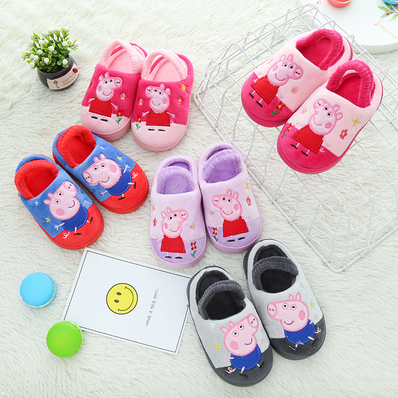 Peppa Pig George Shoes Cotton Winter Plush Children's Shoes Baby Slippers Indoor/Outdoor Autumn Warm Soft Kids Slippers Toys