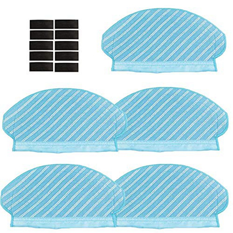 TOP!-10Pcs Magical Stickers & 5Pcs Mop Cloths Set for Ecovacs Deebot OZMO 920 950 Vacuum Cleaning Parts