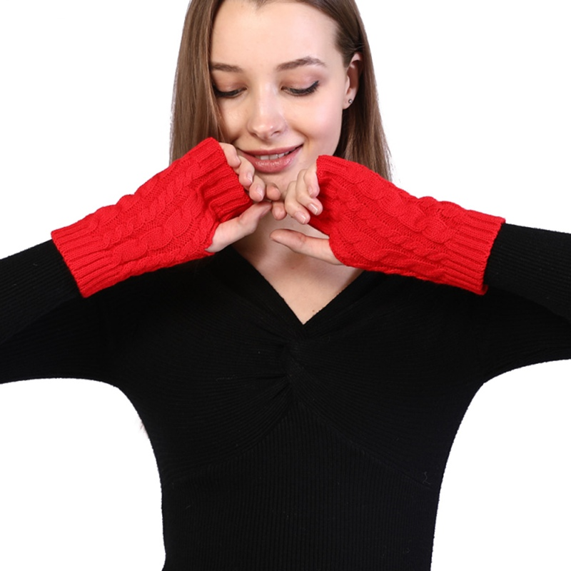 New  Hemp Pattern Fingerless Wool Gloves Knitted Warm Half Finger Arm Sleeve