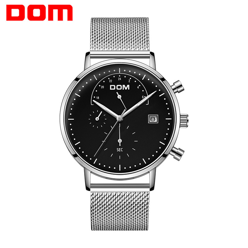 Dom DOM Multi-functional Men Sports Watch Ultra-Thin Calendar Waterproof MEN'S Quartz Watch M-612l-7m