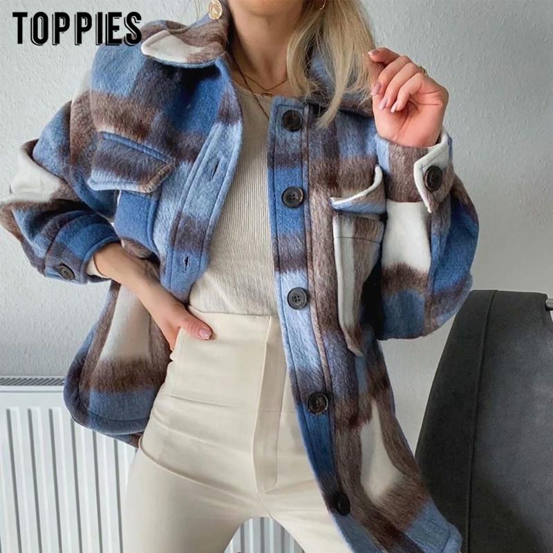 Fashion Women Plaid Shirt Jacket Vintage Brushed Fur Coat Loose Oversize Jacket Clothes Women