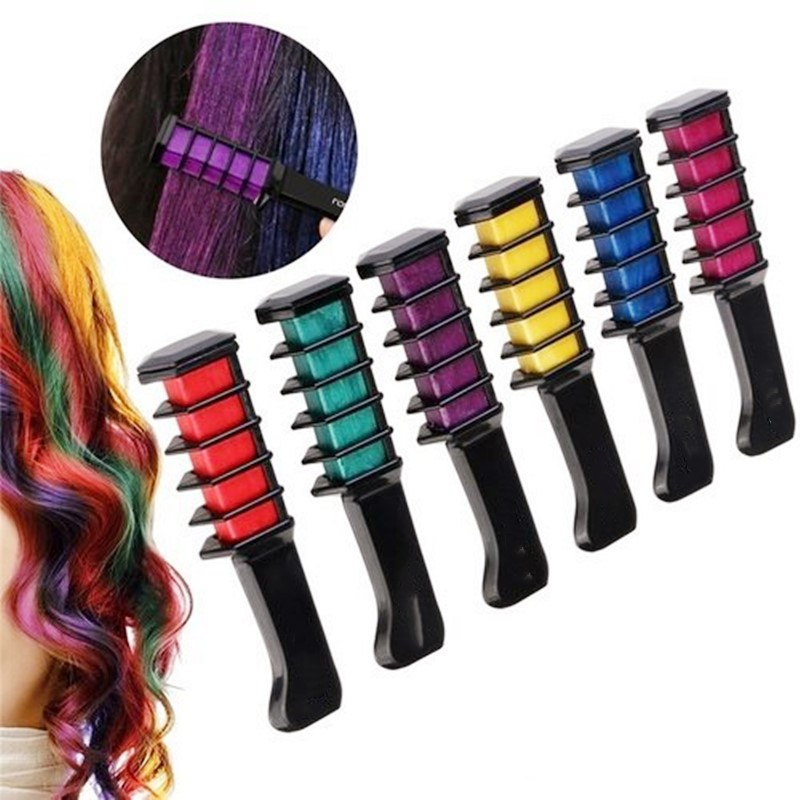 Hot Disposable Temporary Pro Hair Dye Mini Hair Chalks Crayons For Hair Color Multicolor Hair Dye Comb Hair Care Styling Tools