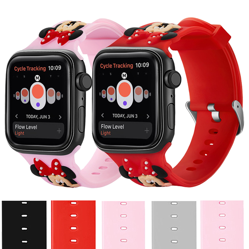 Cute Minnie Sport Watchband For apple watch Strap 40mm band 44mm Cartoon Silicone For iWatch Series <font><b>5</b></font> <font><b>4</b></font> <font><b>3</b></font> 2 <font><b>1</b></font> 38mm42mm Kid Girl image