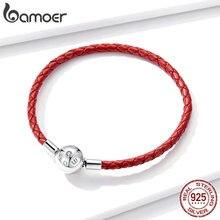 Bamoer Leder Kette Armband für Perlen Unterschrift Gravieren Marke Stelring Silber Schmuck Fit für Original Silber Charme BSB042