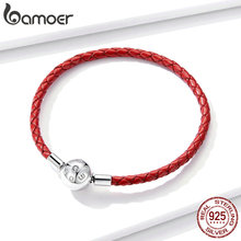 bamoer Leather Chain Bracelet for Beads Signature Engrave Brand Stelring Silver Jewelry Fit for Original Silver Charm BSB042