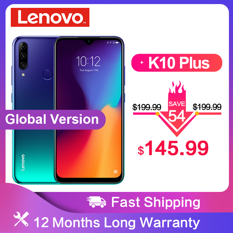 Global Version Lenovo K10 Plus Snapdragon 632 Android 9.0 Mobile Phone 6.217' 4050mAh 4GB RAM 64G ROM 4G LTE Smartphone