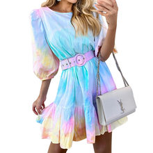 Lovely Girls Tie-dye Printed Short Dress Holidays Beach Party Women Fashion Crew Neck Half Sleeves Ruffles A Line with Belts(China)
