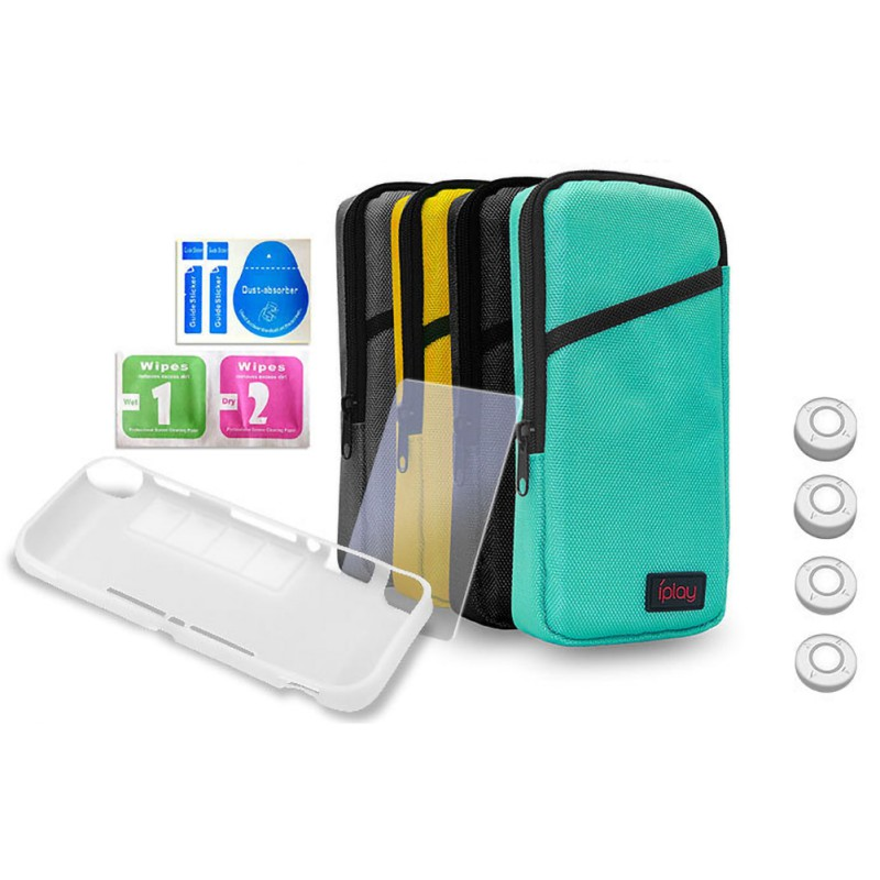 7-in-1 Portection Set For Switch Lite, Portable Soft Carrying Storage Bag Protective Case Screen Film Rocker Cap Kit
