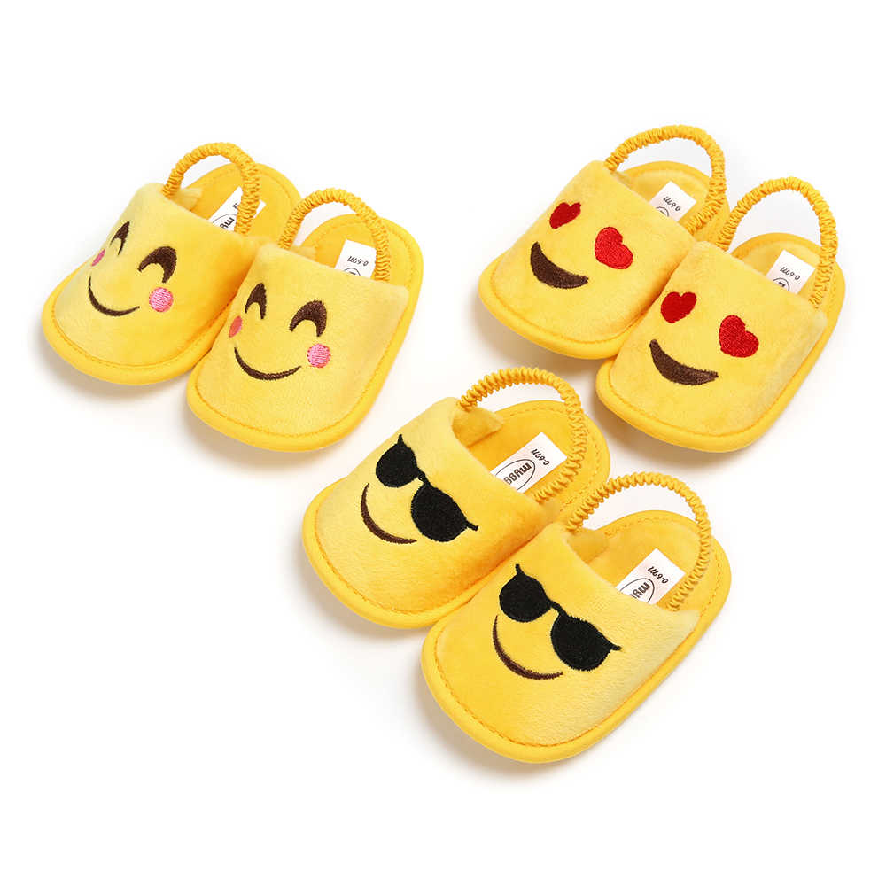 Smile Face Indoor Baby Slippers Spring Baby Girls Shoes Cute Girls Slippers Baby Shoes 0-18M Indoor Slippers For Newborn