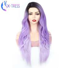 Darker Root Purple Color Synthetic Lace Wig For Women X-TRESS Fashion Cosplay Pa