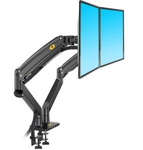 Image 2 - NB F195A In Lega di Alluminio 22 32 pollici Dual LCD LED Monitor di Montaggio Molla A Gas Braccio Pieno di Movimento del Supporto Del Monitor supporto con 2 Porte USB