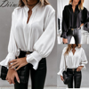 Diiwii Women Autumn Long Sleeve Tops Elegant Casual O Neck Solid Color Blusa Office Ladies Metal Button Basic Shirts Blouse 6