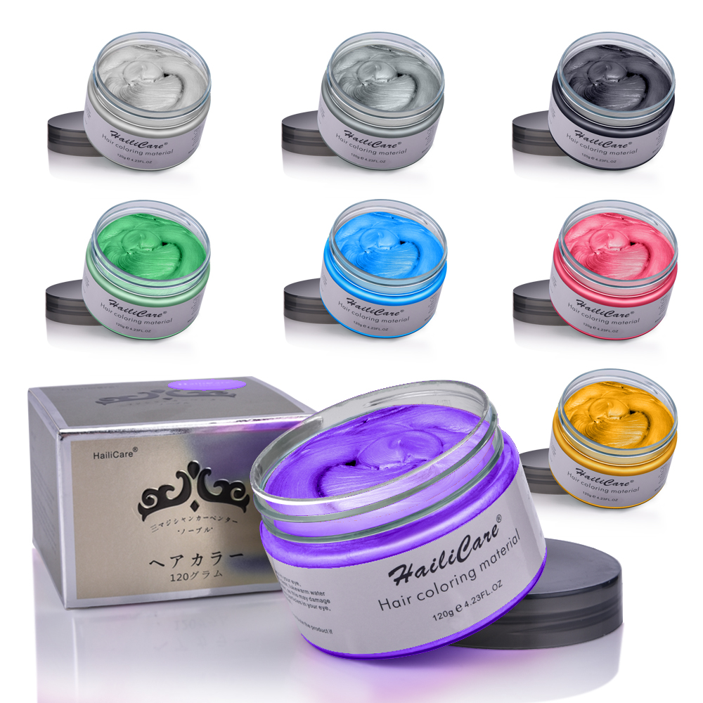 Hair Color Wax Styling Pomade One-time Molding Grandma Grey Fashion Festival Celebrate Coloring Mud Cream 7 Colors Available 1