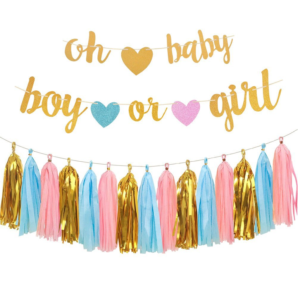 Oh Baby Boy Or Girl Banner Paper Tassel Pink Blue Gender Reveal Party Decoration Baby Shower Pompom Tissue Toys