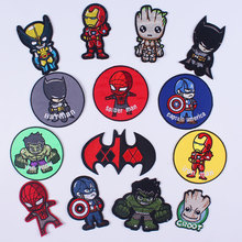 Cartoon Super Hero Patches Iron on Marvel Superman Appliques for Clothing Stickers 3D Spiderman Embroidered Clothes DIY