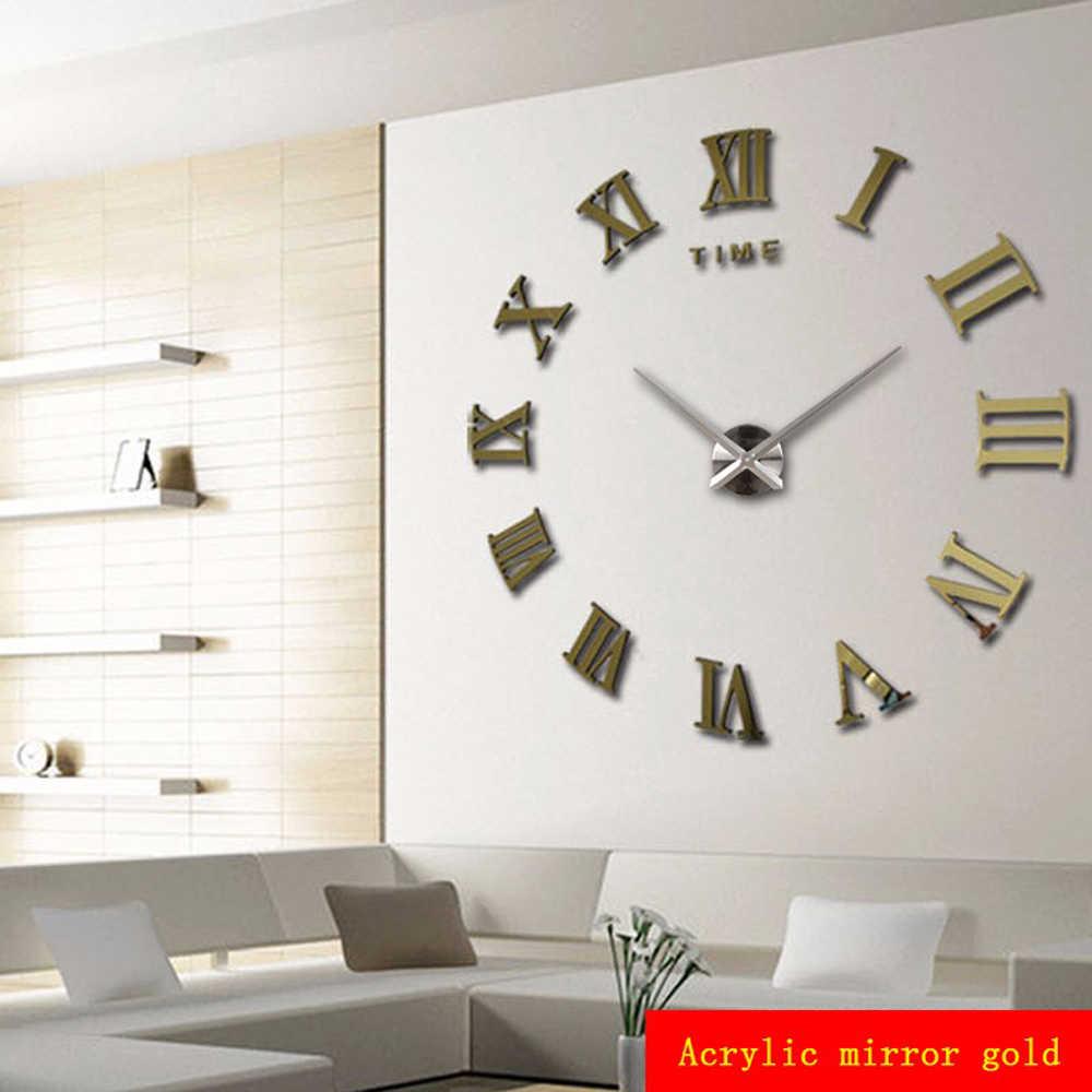 Décor à la maison grand miroir romain mode moderne Quartz horloges salon bricolage horloge murale autocollant montre 3D acrylique miroir horloge murale