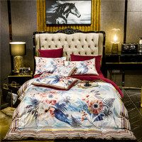 New Luxury 3D Flowers War Horse Printing Winter Thick Fleece Fabric Bedding set Flannel Velvet Duvet cover Bed sheet Pillowcases