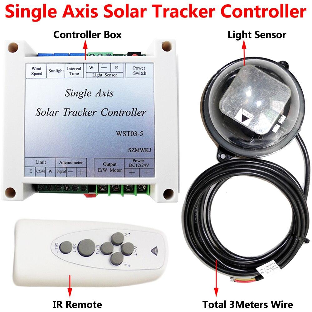 Wielofunkcyjny elektroniczny kontroler + wodoodporna lampa czujnik + pilot zdalnego sterowania na podczerwień dla pojedynczej osi panel słoneczny śledzenia światła słonecznego Tracker w Kontrolery słoneczne od Majsterkowanie na AliExpress - 11.11_Double 11Singles' Day 1