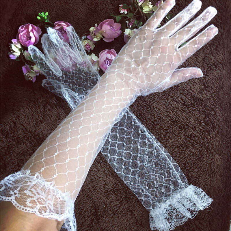 White/Red Long Women Lace Bride Gloves Elbow Length Full Finger Wedding Accessories White Elbow Length Gloves Wedding Gloves