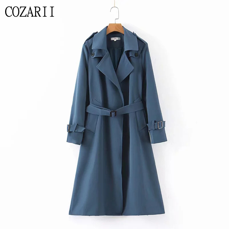 COZARII new fashion solid Open Stitch   trench   coat women sashes pockets england style elegant long mujer windbreaker female