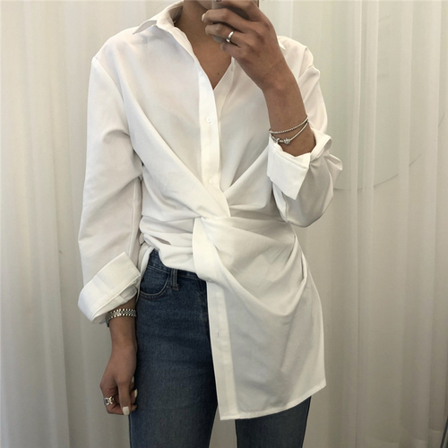 Autumn Women Chic Kink Design Solid Color Lavender Long Sleeve Long Shirt Street Wear