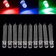 25/50/100pcs 5mm RGB LED Common Cathode Tri-Color Emitting Diodes