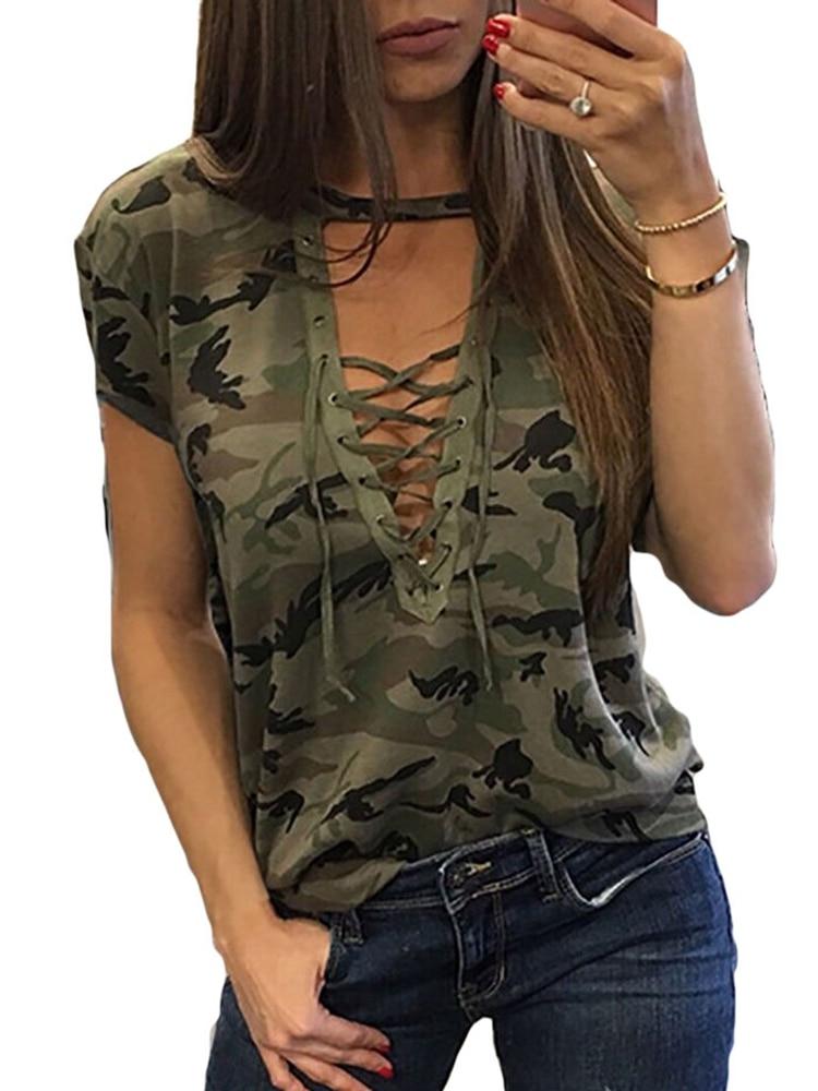 Women Short Sleeve Camouflage Bandage Cross Blouse Summer Top