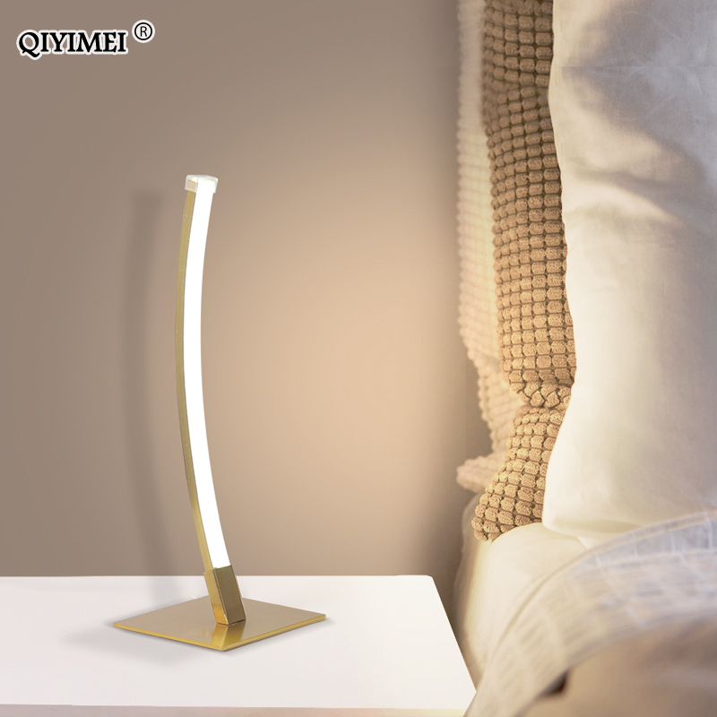 Bedside Lamp Modern Table Lamp LED White Black Gold Desk Lamps For Study Office Reading Night Light EU/US Plug Luminaria De Mesa
