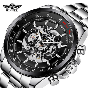 WINNER Men Skeleton Mechanical Watch Fashion Men Stainless steel Automatic Watch Sport BusinessWristwatch Relogio Masculino