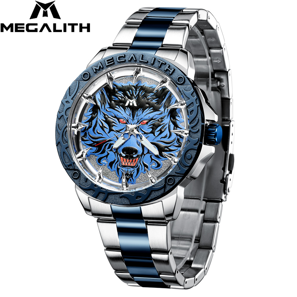 MEGALITH Watch Men 2020 Fashion Wolf Head Embossed Wrist Watch Men Sport Waterproof Stainless Steel Clock Relogio Masculino 8207