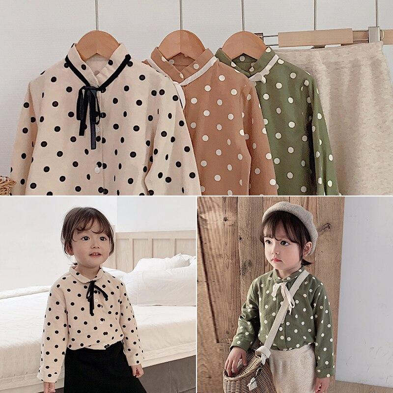 2019 girls autumn lapel long sleeve round neck T-shirt