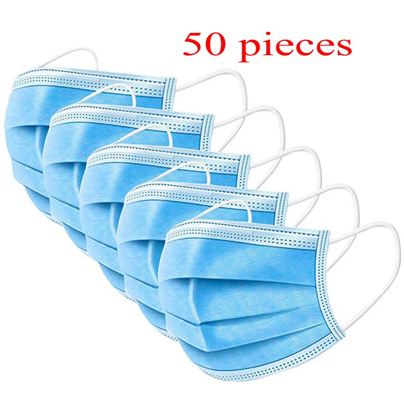 50 Pieces Disposable Mask Cotton Masks Anti Dust Anti Flue Anti Virus And Bacteria Mask With Filter PM2.5