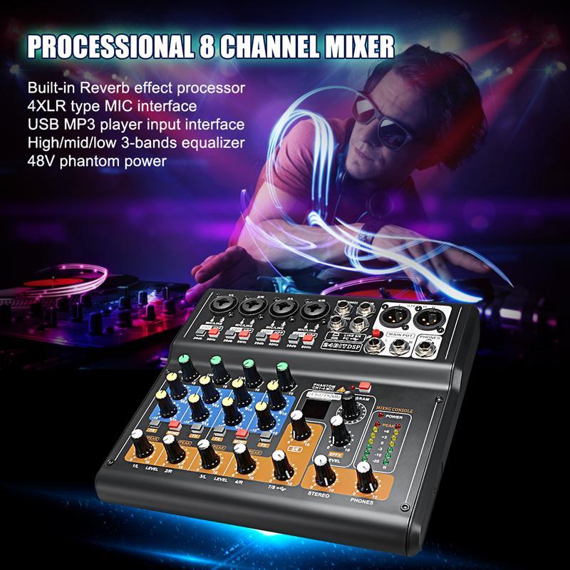 Console de mixage Audio professionnelle à 8 canaux Mini table de mixage numérique USB avec commutateurs à tampon effet DSP pour PC karaoké