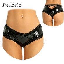 Panties Lace Briefs Exotic Underwear Women Lingerie Open-Crotch Wet-Look Sex Mini V-Back