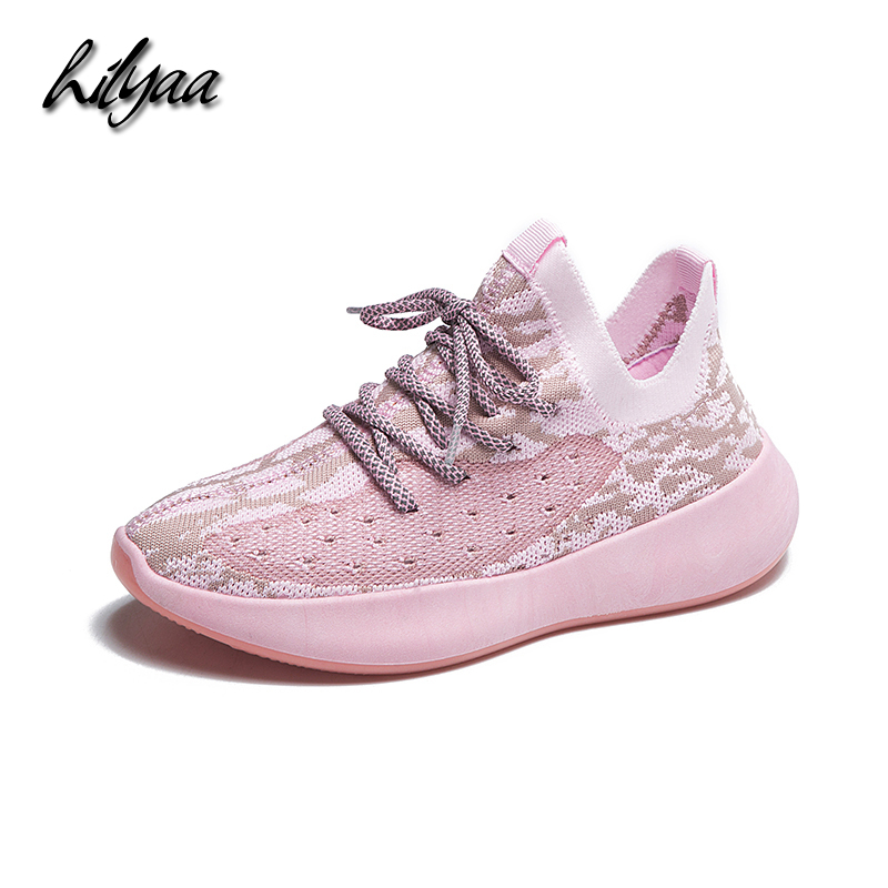2019 New Woman Sneakers Knitted Mesh Flats Shoes Female Lace-up Casual Outdoor Flats Shoes Soft Breathable Running Sneakers Lady