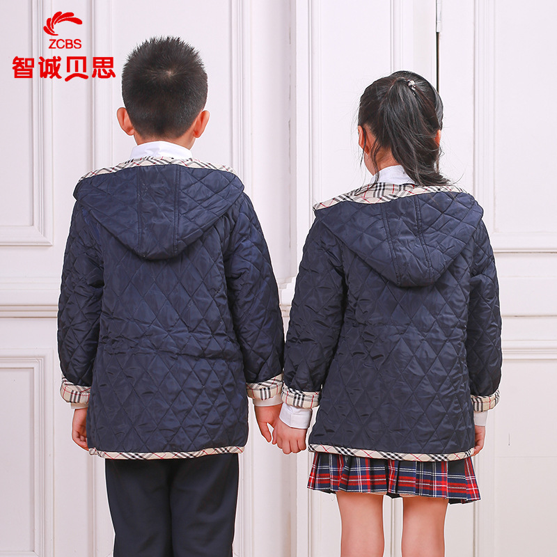 Childrenswear Primary School STUDENT'S British-Style School Uniform Kindergarten Suit Autumn And Winter Cotton Coat Cold Protect
