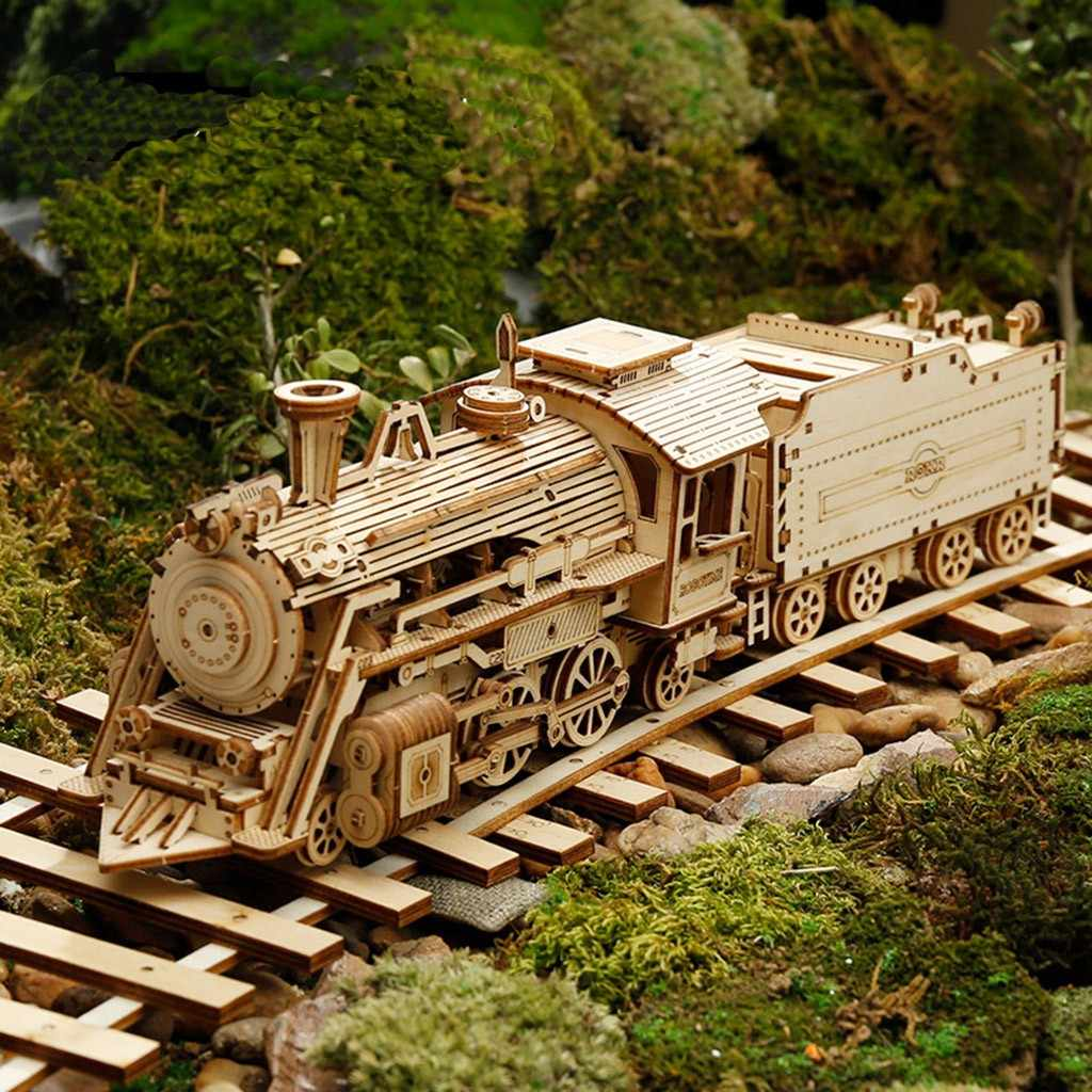 DIY Creative 3D Steam Train American Longhead Truck Battlefield jeep Grand Prix Wooden Puzzle Game Assembly Toy for Child Adult