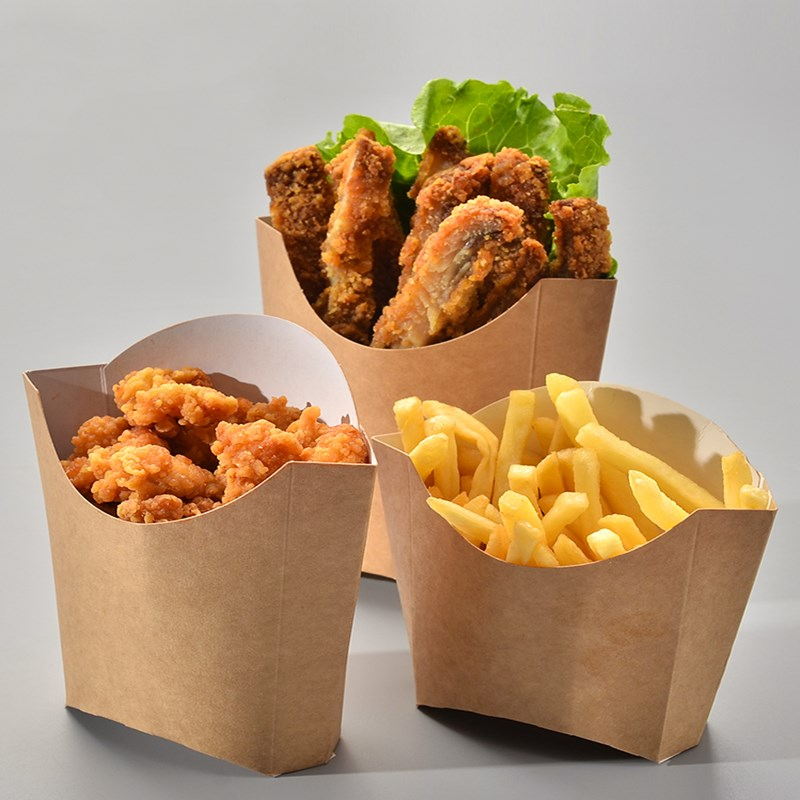 Creative  Kraft Paper  Fries Box  Disposable French Fries Box  Fried Chicken Box Waterproof Anti-Oil Food Grade Package 100pcs