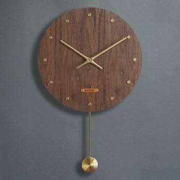 Chinese Vintage Pendulum Wall Clock Wood Mute Living Room Quartz Clock Creative Art Clocks Home Wooden Clock Retro Watch C6T