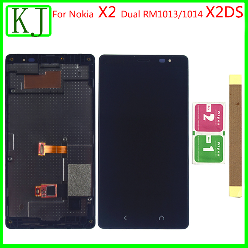 For <font><b>NOKIA</b></font> X2 Dual RM-<font><b>1013</b></font>/1014 X2DS LCD Display Touch Screen Digitizer with Frame Replacement for <font><b>NOKIA</b></font> X2 LCD Screen image