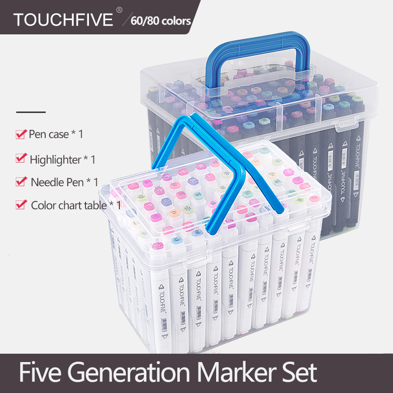 TouchFIVE 60/80 Color Markers Manga Drawing Markers Pen Alcohol Based Sketch Felt-Tip Oily Twin Brush Pen Art Supplies