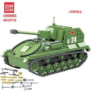 Image 1 - 601 قطعة الاتحاد السوفياتي العسكري SU 76M دبابات اللبنات خزان العسكرية في كتل الجيش الجندي سلاح الطوب مجموعات ألعاب تعليمية