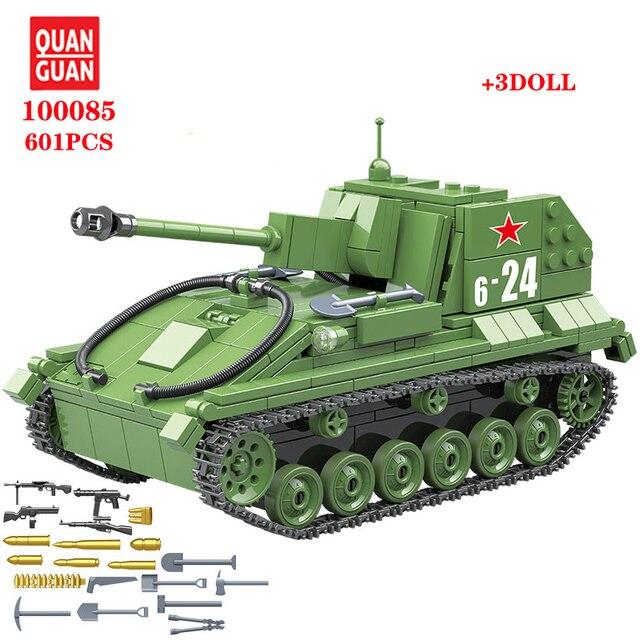 601 قطعة الاتحاد السوفياتي العسكري SU 76M دبابات اللبنات خزان العسكرية في كتل الجيش الجندي سلاح الطوب مجموعات ألعاب تعليمية